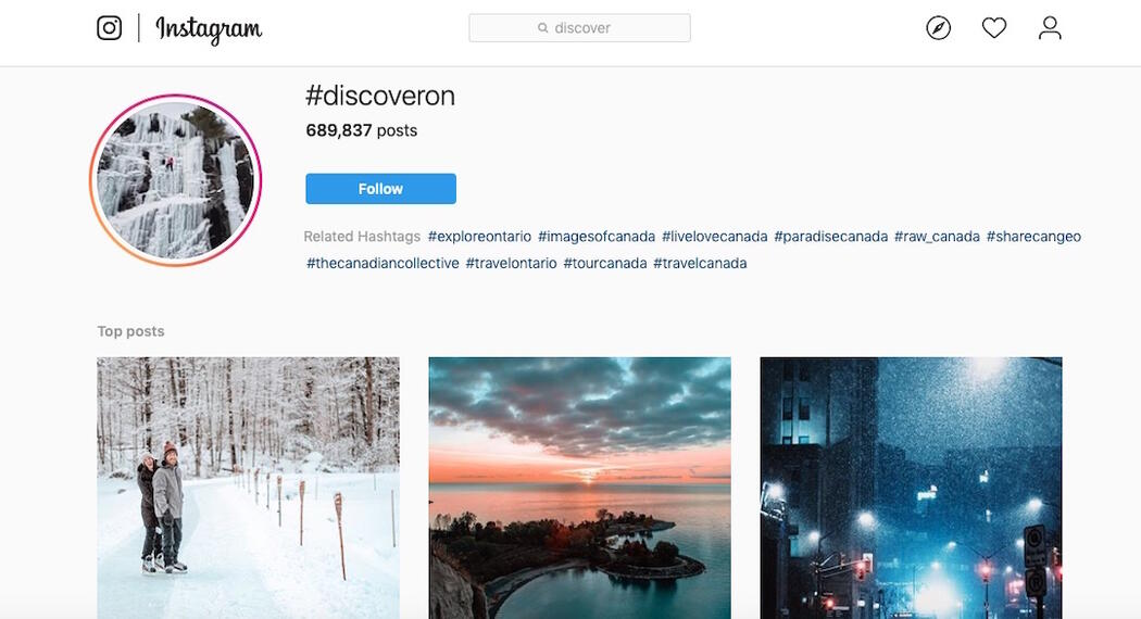 Screen capture of Instagram page for #discoveron.