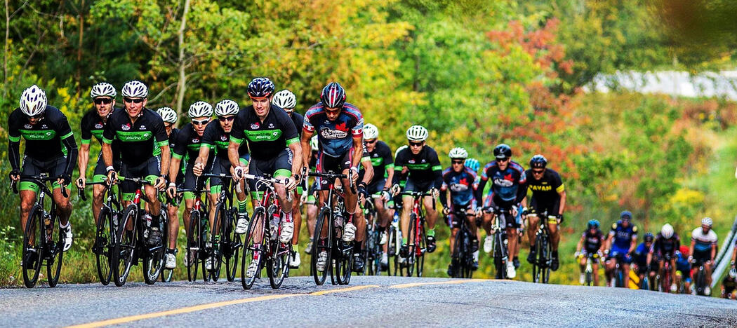 Large group of cyclists riding on a paved road.