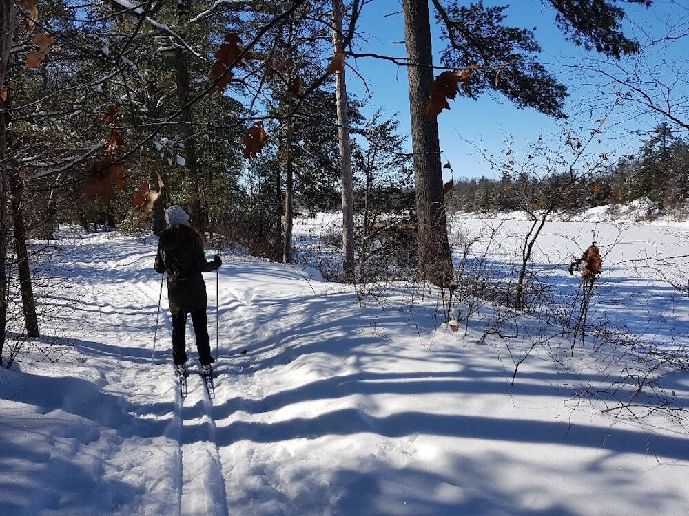 Cross country skiing beside a frozen river