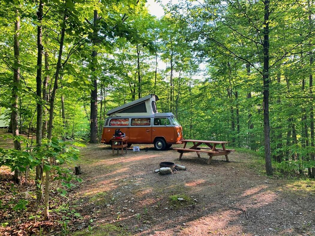 An orange and white camper van parked beside a picnic table.