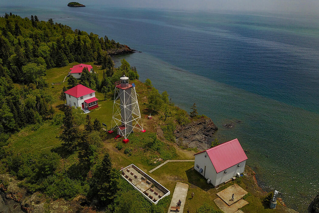 Aerial view of lighthouses on Lake Superior.