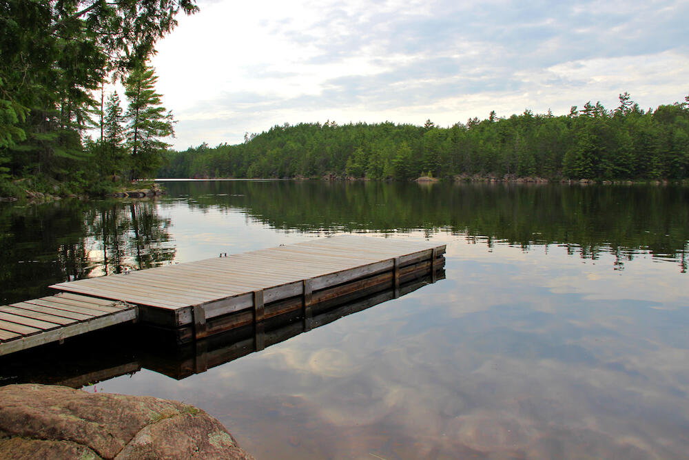 Long dock on a river