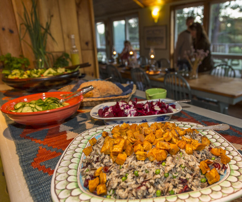 Buffet of salads and main courses.