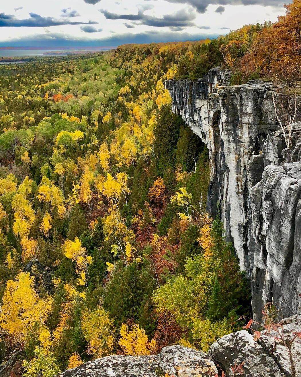 Beautiful view of rock escarpment in fall  from top of Cup and Saucer trail.