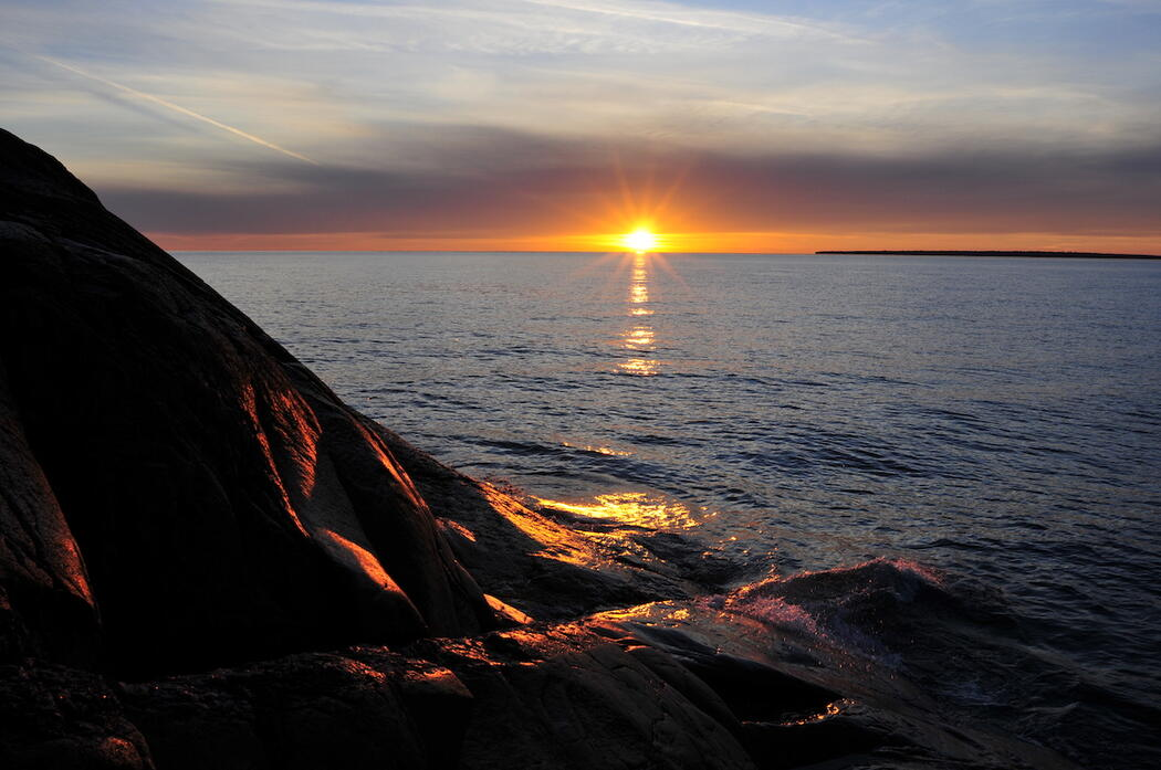 Beautiful sunset over Lake Superior