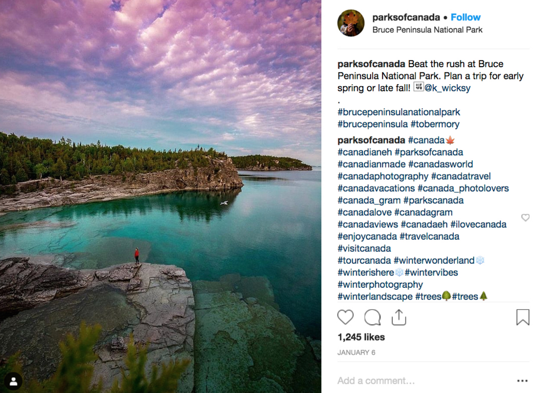 Instagram post of Georgian Bay cliffs and turquoise waters