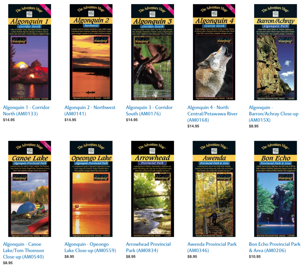 Covers of The Adventure Map for Algonquin Park