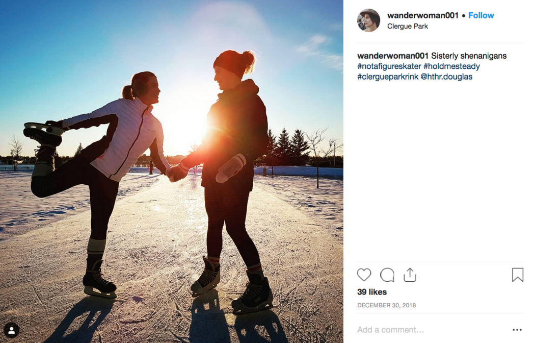 Instagram post of 2 skaters on outdoor skating trail