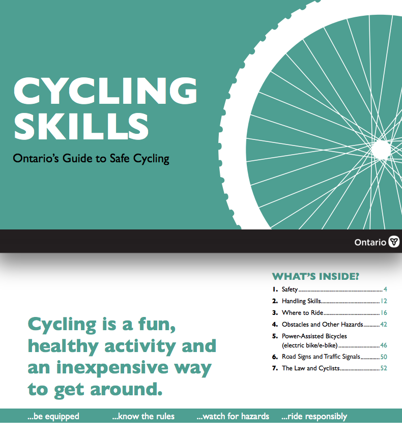 Cover of Ontario Cycling Skills booklet