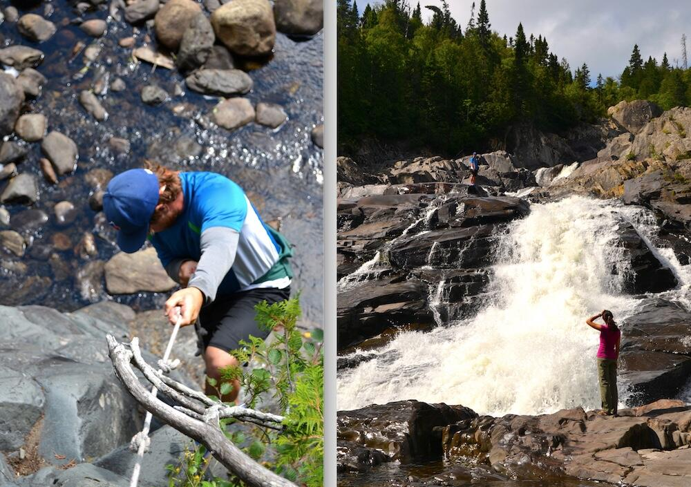 Man climbing down a rope, man and woman beside a waterfalls