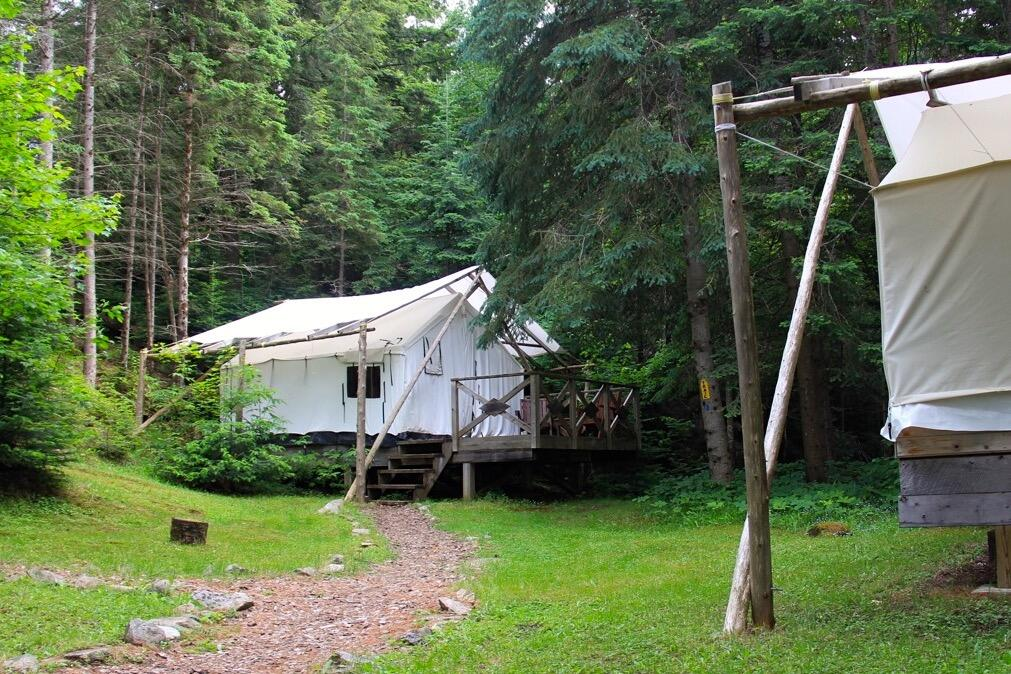 Canvas tent on a platform, nestled in the Algonquin forest.