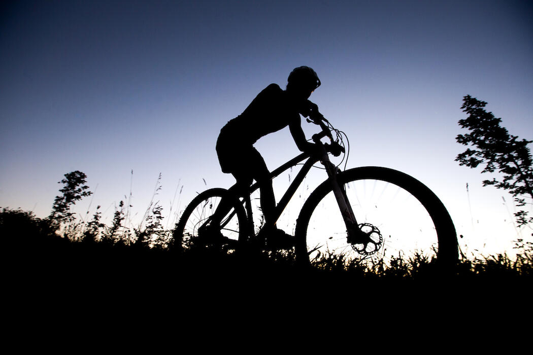 Mountain biker riding at dusk.