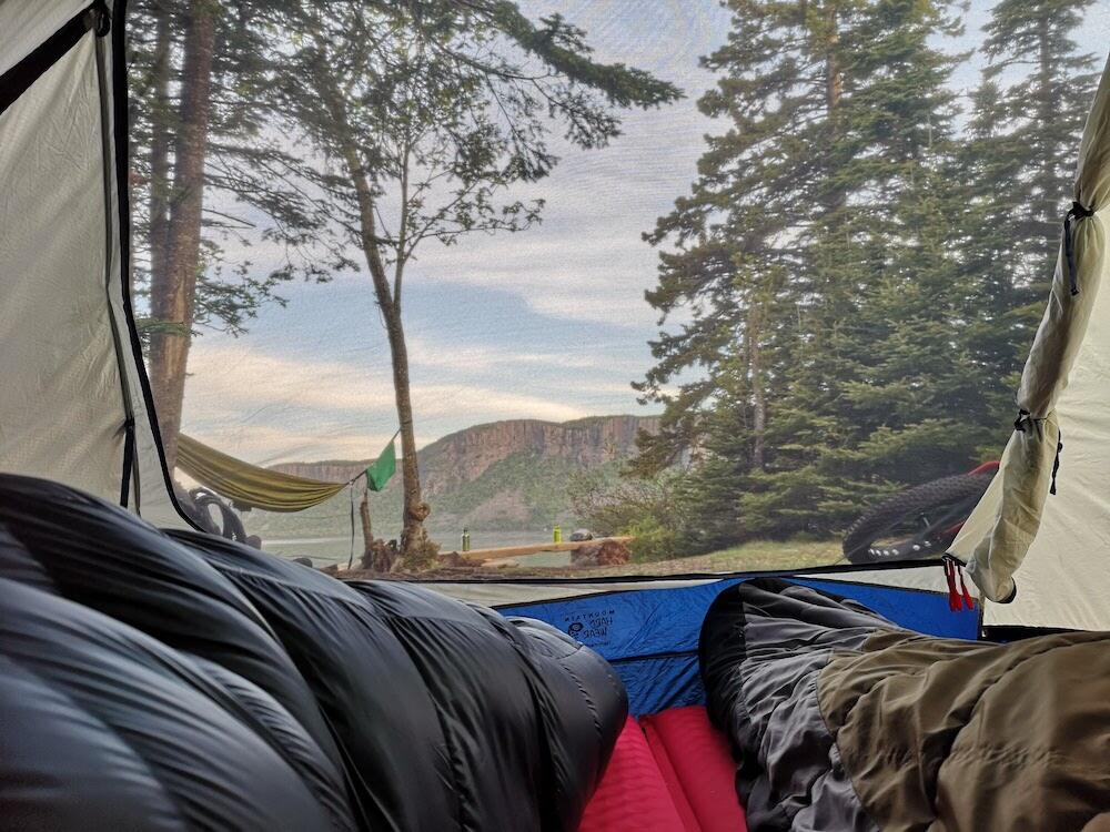 View from the inside of tent to mountain outside