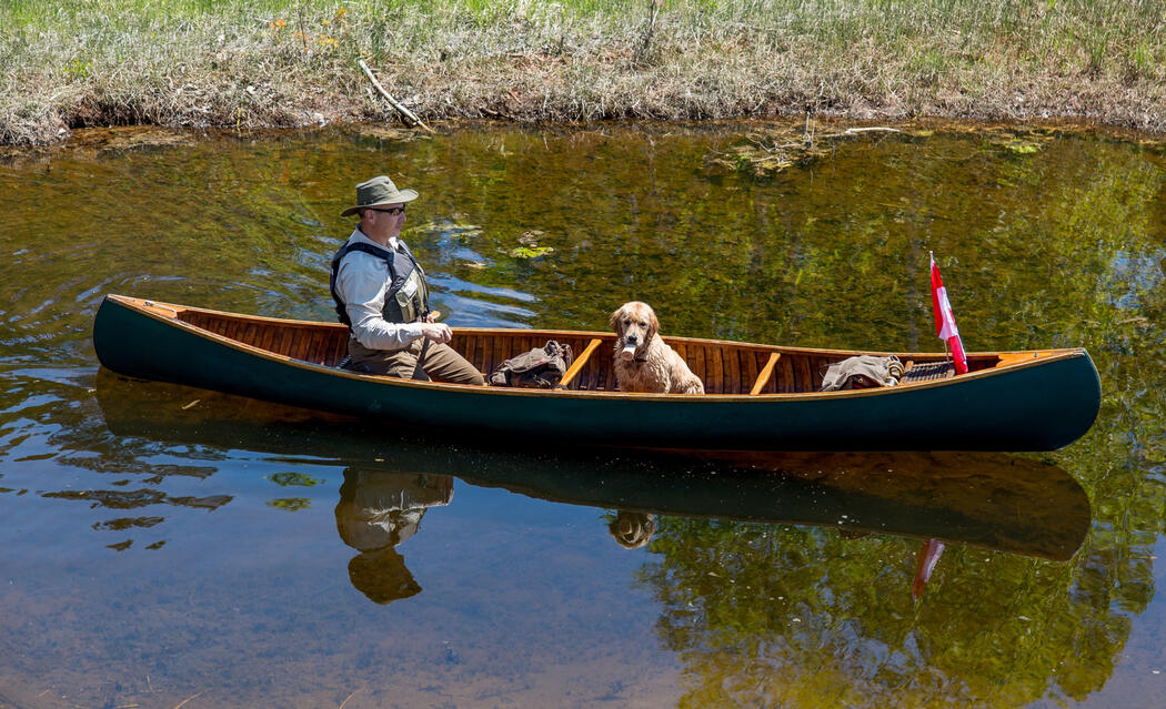 Man paddling a green canoe with golden retriever pup
