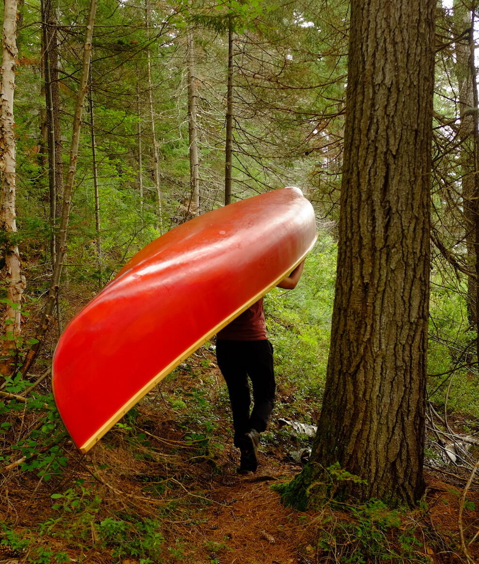 Man portaging a red canoe