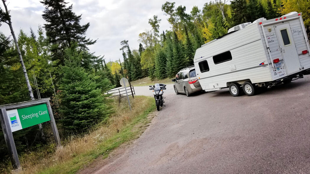Pulling the RV and motorcycle into Northwest Ontario's Sleeping Giant Provincial Park
