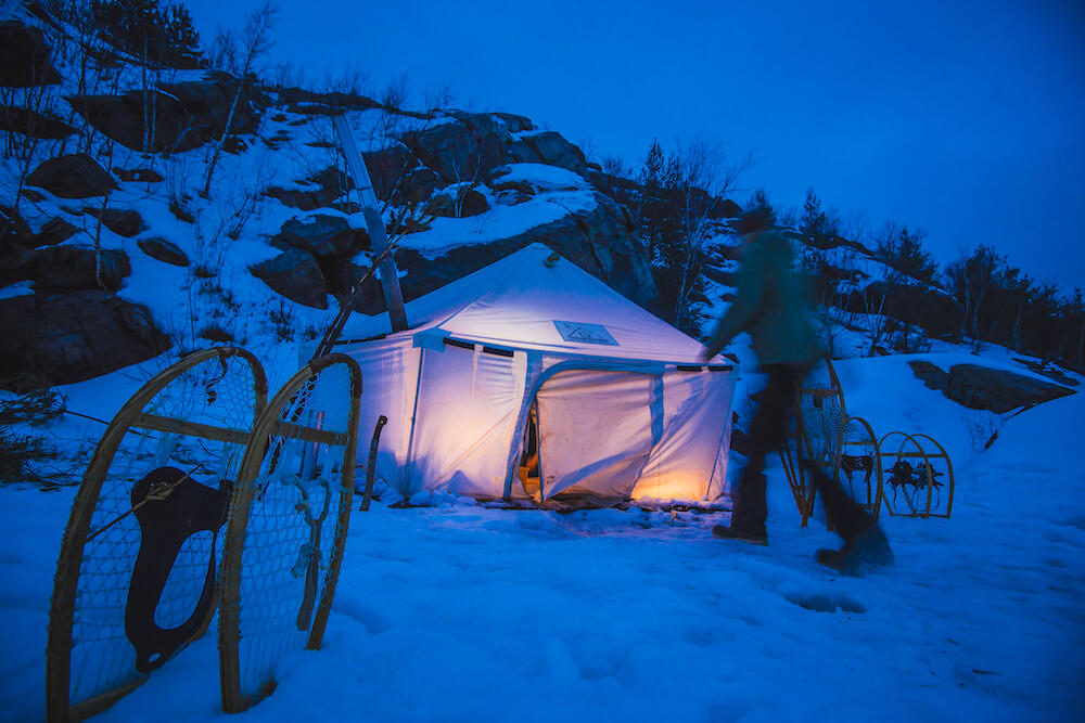 Heated tent at night