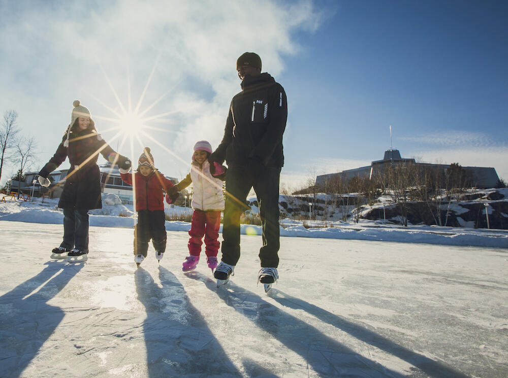 Two adults skating on frozen lake with two small kids.