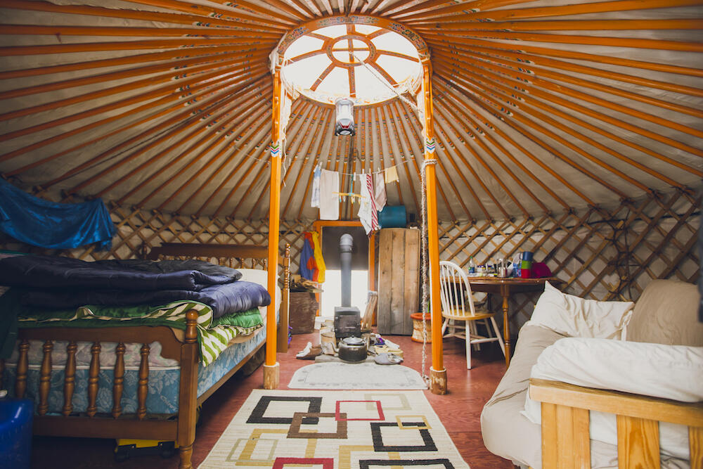 Inside a traditional Mongolian yurt.