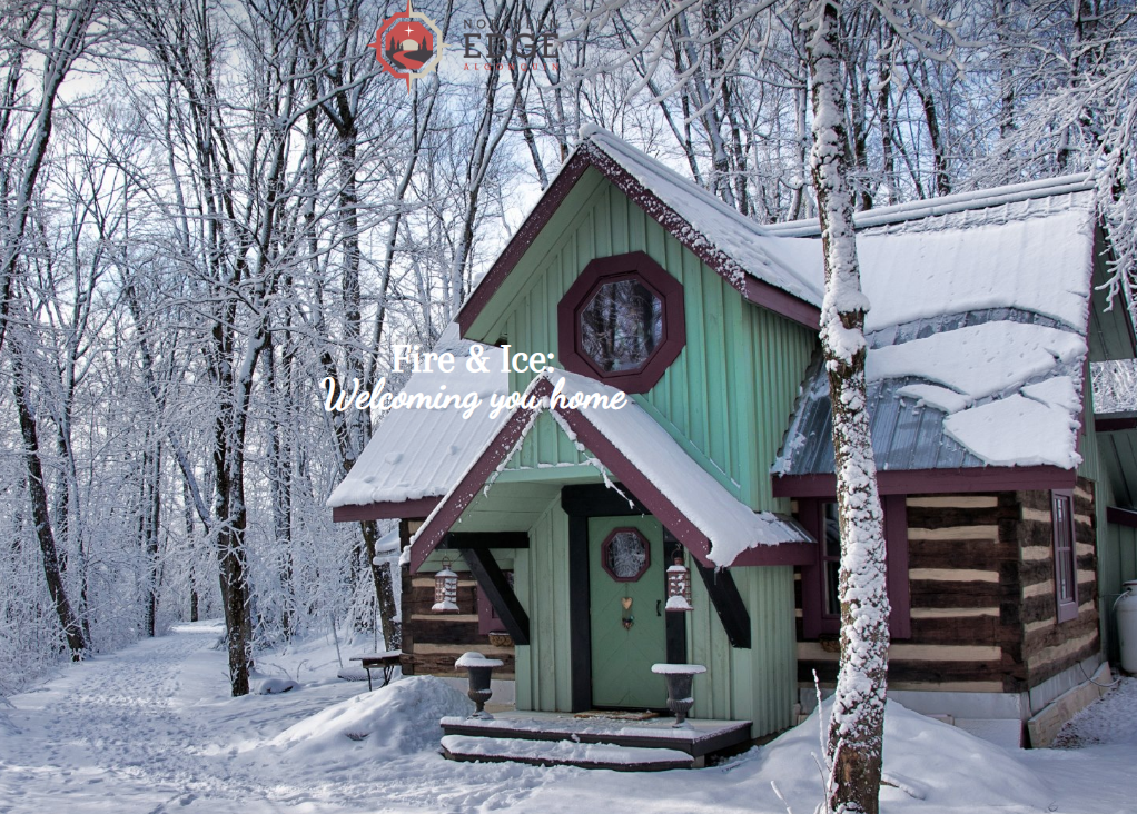 Log cabin in the winter.