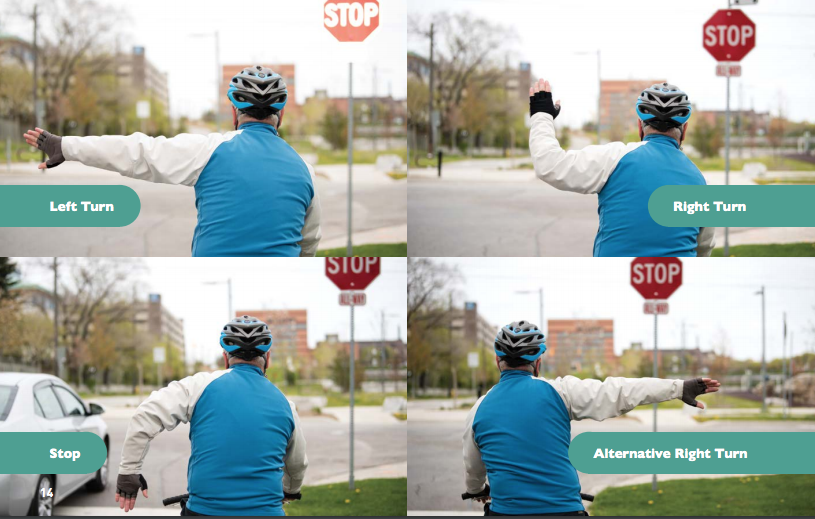 Four images showing a cyclist doing hand signals.