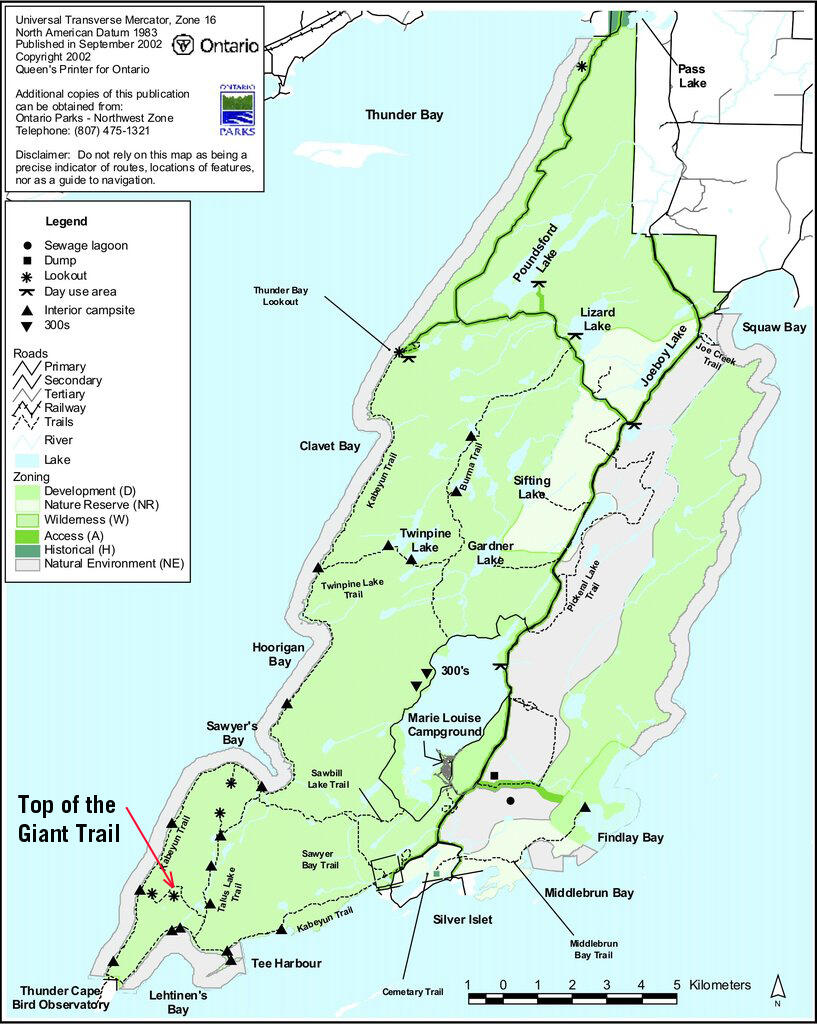 Map of trails in Sleeping Giant Provincial Park