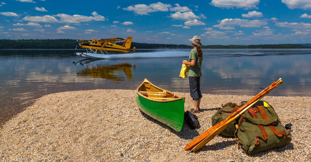 Woman standing beside green canoe on a beach in front of a yellow floatplane landing on lake