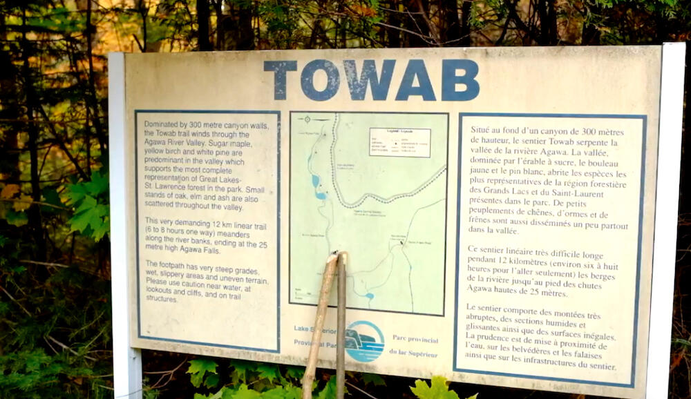Towab Trailhead sign with map and trail information