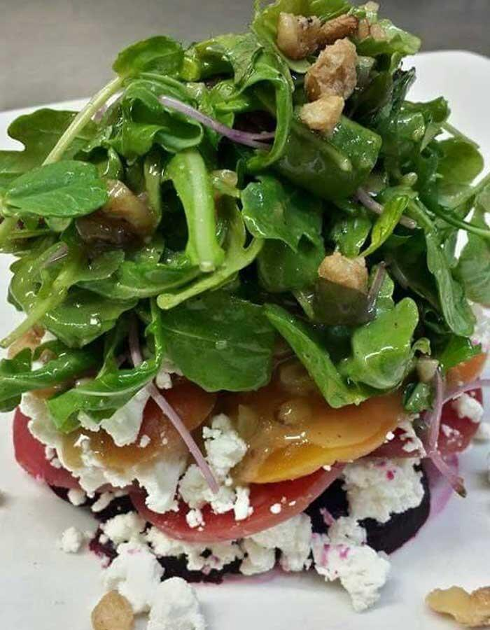 smoked beet and goat cheese salad
