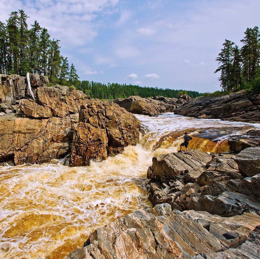 Small falls on a river of rocks