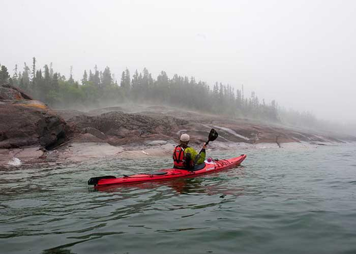 kayaker on lake superior