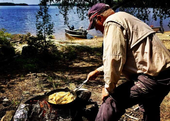 timber edge camps guide cooking shore lunch