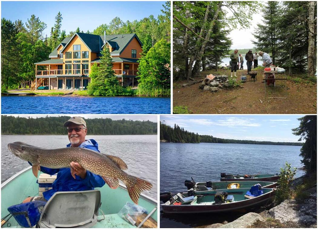 moose horn lodge northern pike, lodge, fishing boat, shorelunch
