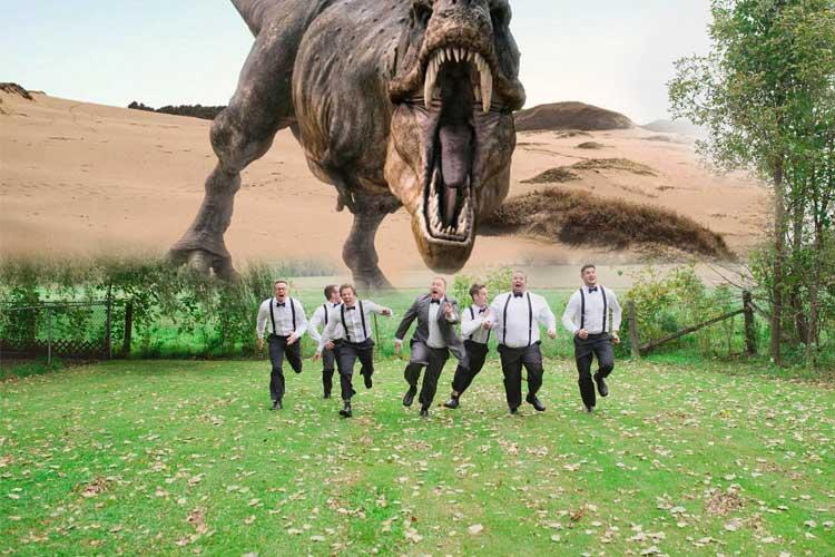 people running from a t rex