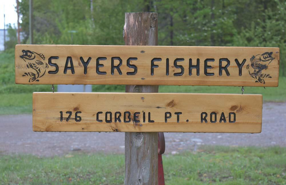 sayers fishery wooden sign