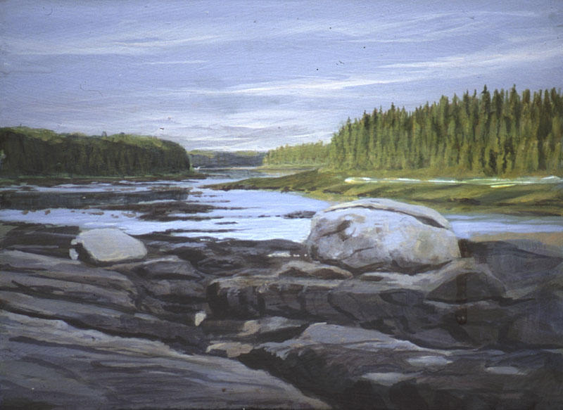 """View North"" Below Kettle Falls on the Missinaibi River: September 4, 2001, 8"" x 10"" acrylic plein air (field painting)"