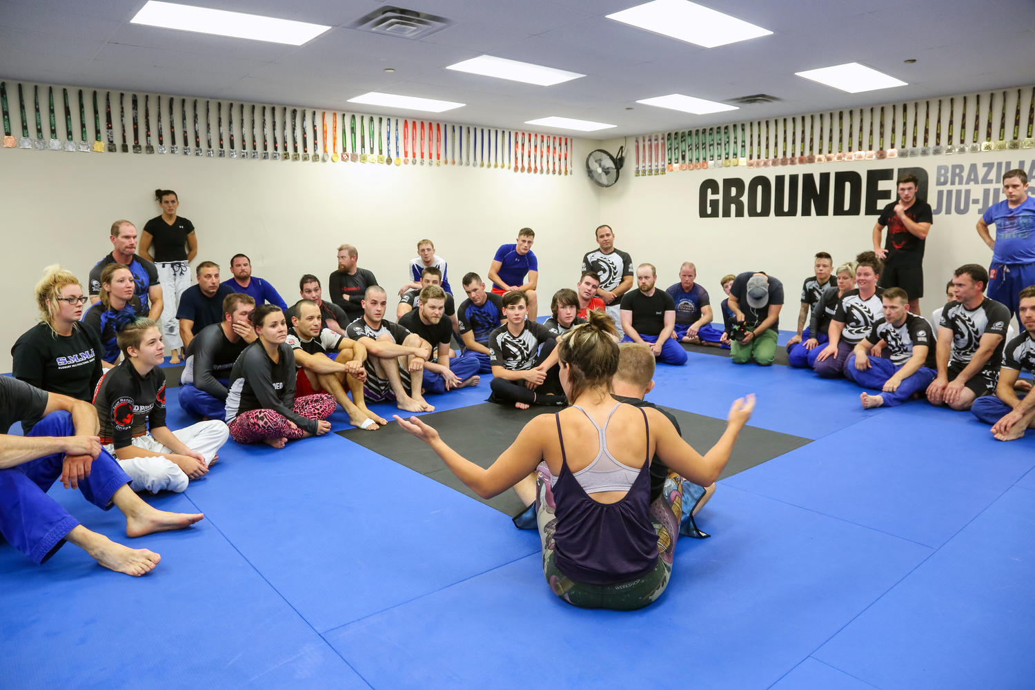 Miesha Tate training fighters at Grounded Studios in North Bay, Ontario