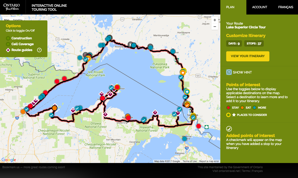 Motorcycle Ride Around Lake Superior A Personal Journey Northern - Interactive motorcycle map of the us