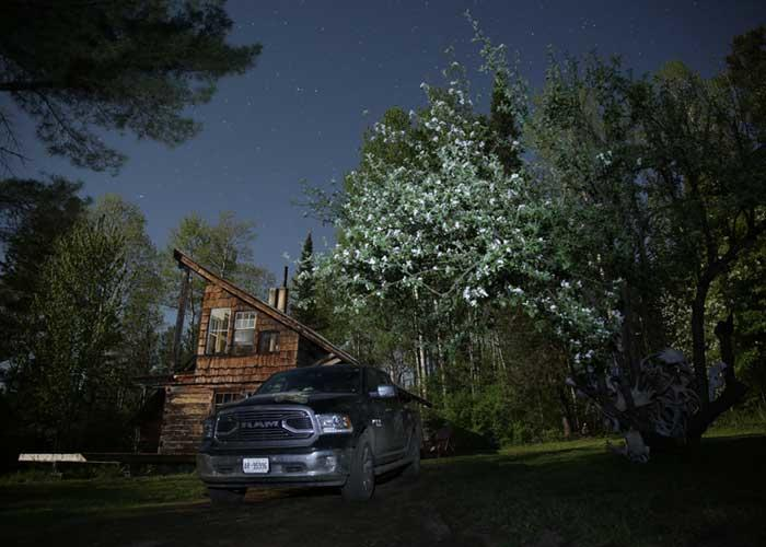 starry night at the cabin