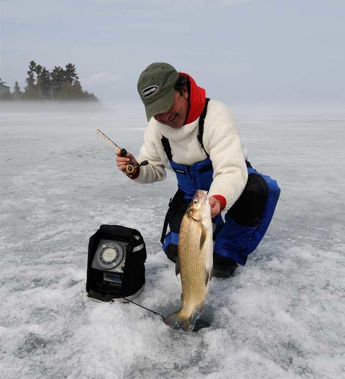 ice angler with whitefish