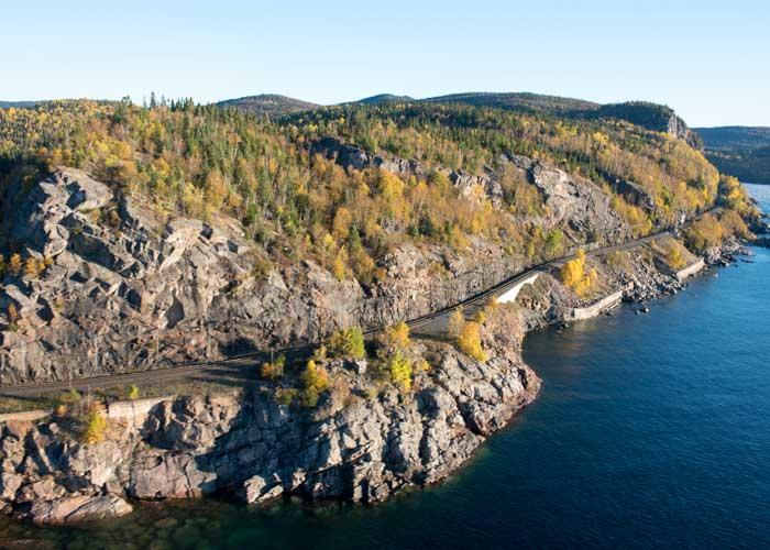 railway line on lake superior coast