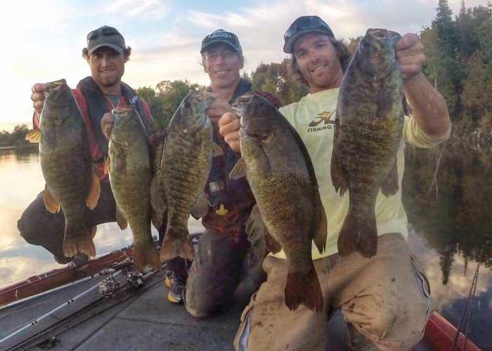 adam vallee, james smedley, tyler dunn with smallmouth bass