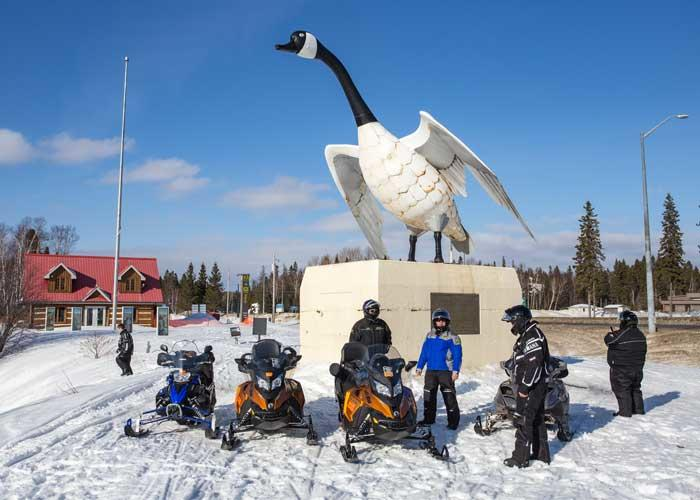 snowmobile group at wawa goose