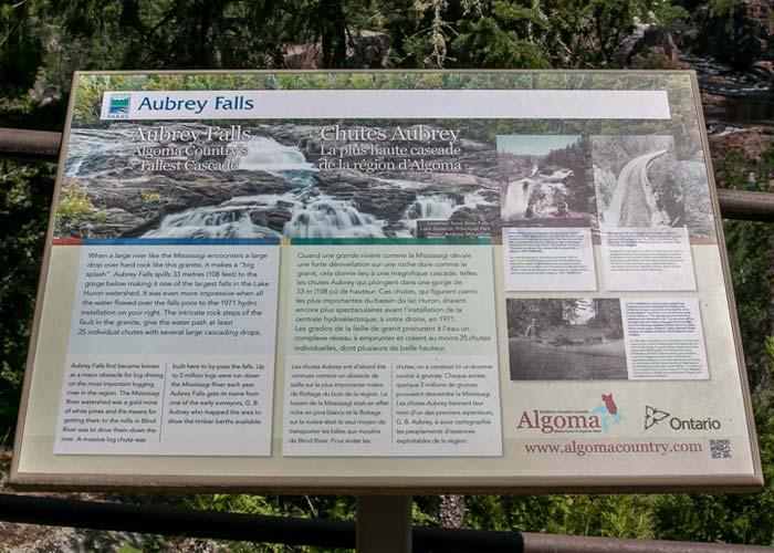 aubrey falls interpretive panel